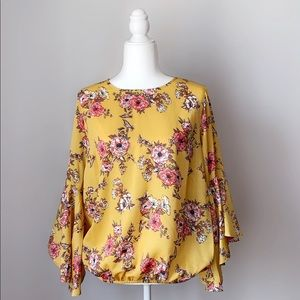 Tops - Yellow floral top